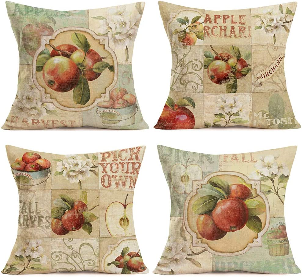 Doitely Set of 4 Apples Harvest Throw Pillow Covers Decorative Pillow Cases Fruit Garden Orchard Autumn Square Cotton Linen Pillowcase Vintage Flower Decor Cushion Cover 18x18 Inch
