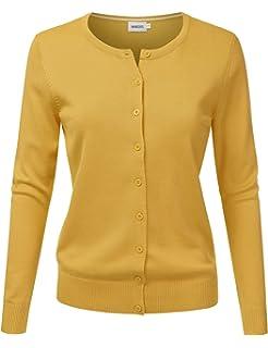 98dd766448 BIADANI Women Button Down Long Sleeve Crewneck Soft Knit Cardigan ...