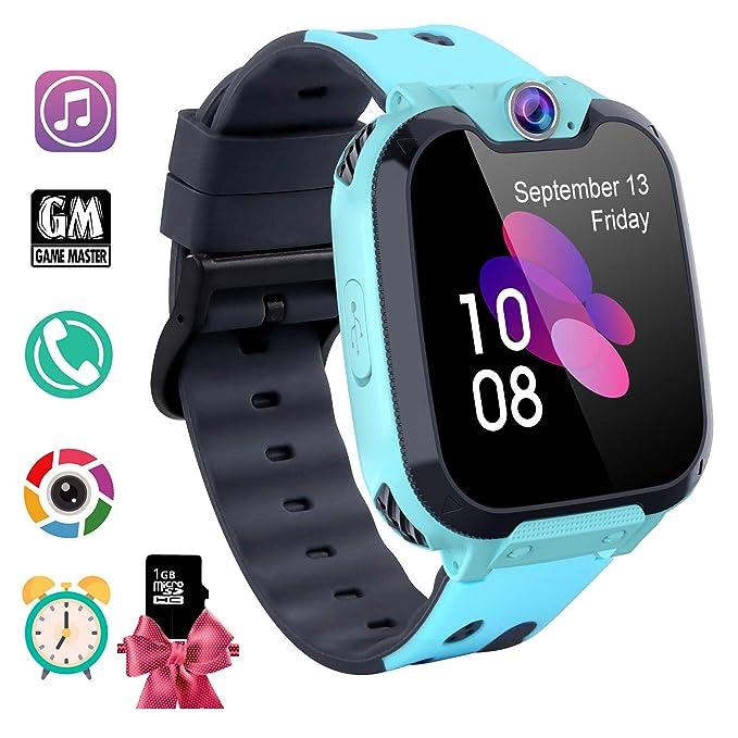 Reloj Inteligente Niño con Mp3 Musica - 7 Juegos Smartwatch Niños, Reloj Inteligente Niña, Relojes Smart Realiza Llamadas Mensajes de Voz Reloj de ...