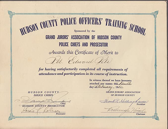 Hudson County Police Officers Training School Certificate of Merit ...