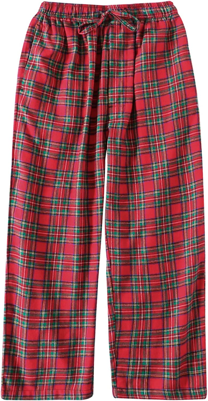 Big Boys Cotton Plaid Pajama Pants Lounge Long Pants Loose Size 8 10 12 14 16