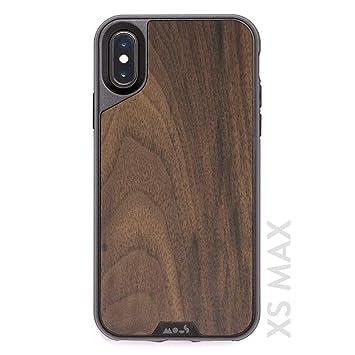 Mous Carcasa Protectora para iPhone XS MAX - Madera de Nogal Auténtica - Protector de Pantalla Incluido