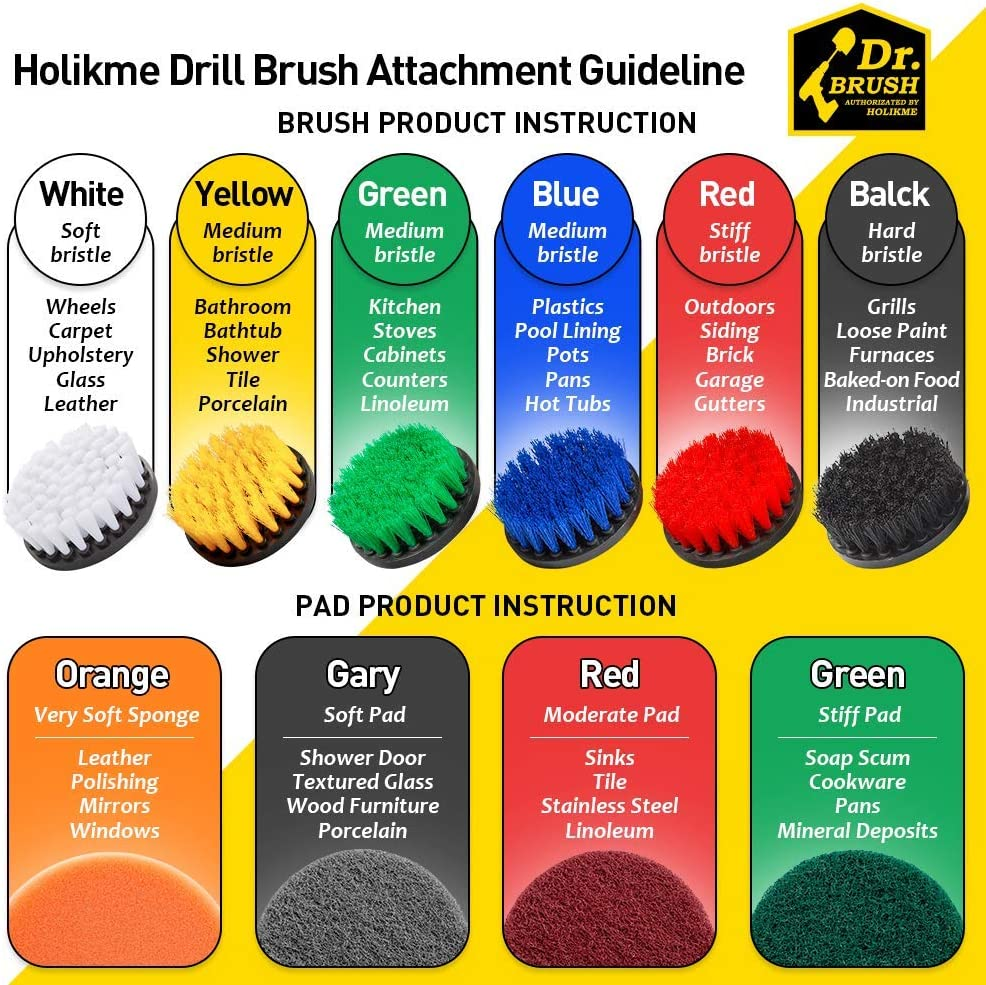 Holikme 15Piece Drill Brush Attachments Set