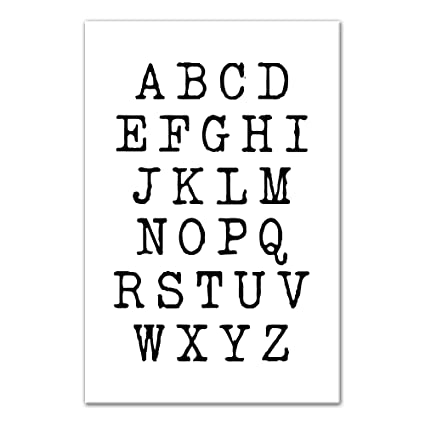 Amazon com: Typewriter Alphabet 12x18 Canvas Wall Art: Home & Kitchen