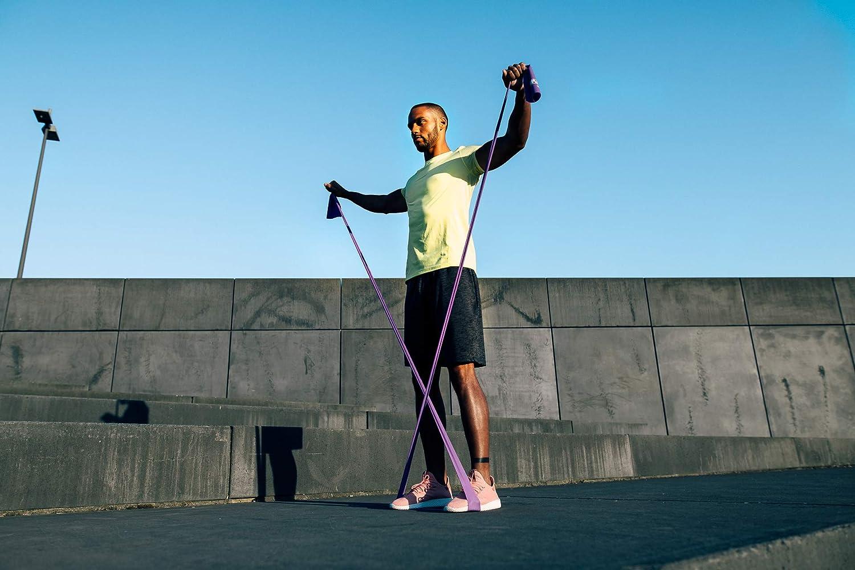 3 Niveles de Fuerza Fitness Bandas El/ásticas de Resistencia de VIA FORTIS Pilates Cintas Largas para Entrenar x 3 Fisioterapia o Rehabilitaci/ón Incluye Ancla y Bolsa de Transporte Yoga