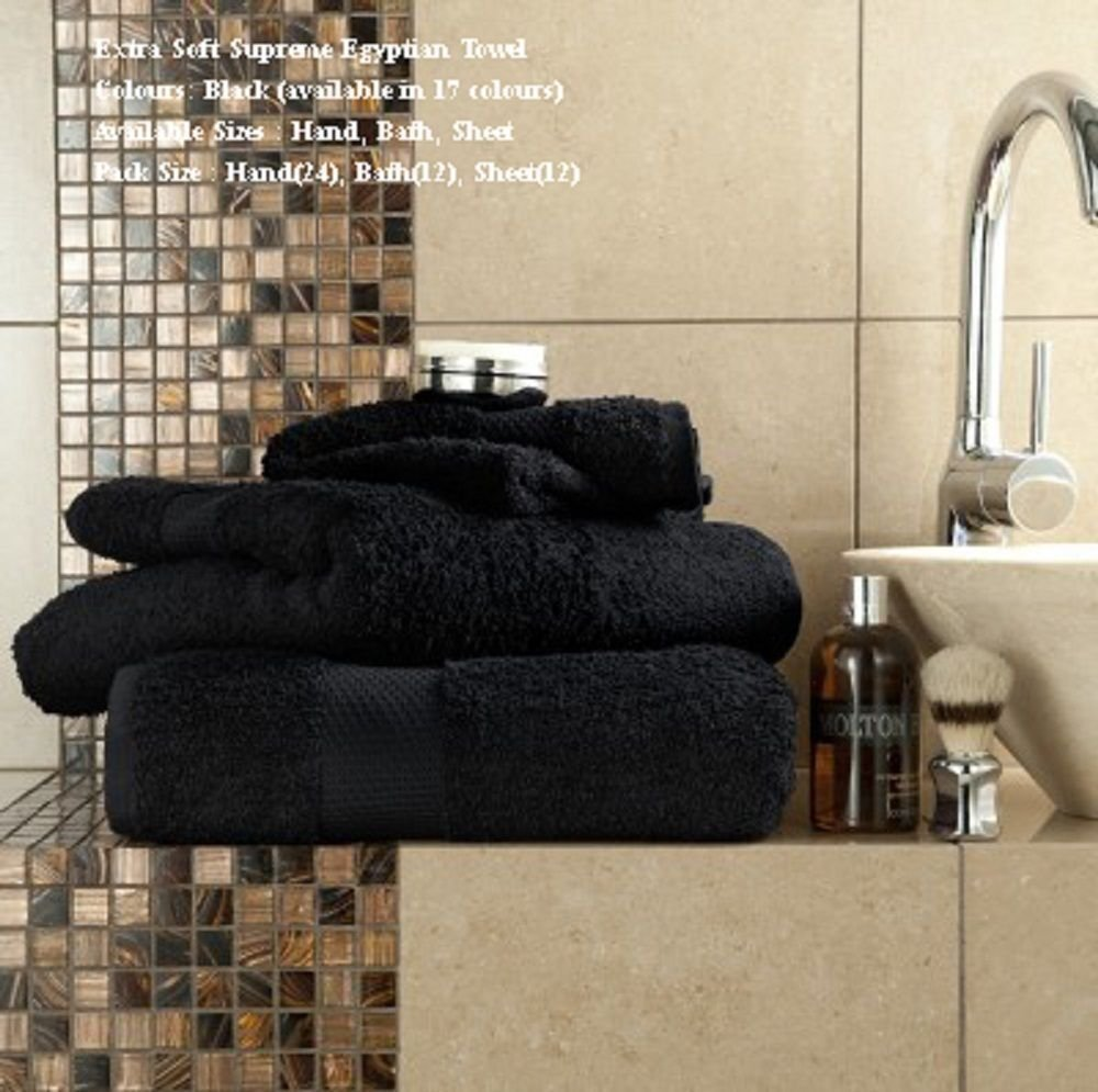 Set di asciugamani da bagno Jumbo di lusso in cotone egiziano, 700g/m2, extra grandi, spessi, ultra morbidi, pettinati, assorbenti, di alta qualità, 100x 180cm Black [Classe di efficienza energetica A+++] GC