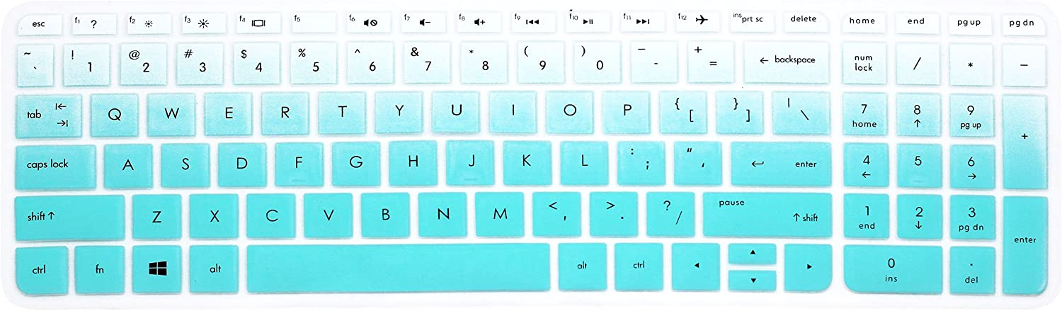 "Keyboard Cover Skins for 15.6"" HP Pavilion 15-ab 15-ac 15-ae 15-af 15-an 15-ak 15-as 15-au 15-ay 15-ba 15-bc 15-bk Series, HP Envy x360 m6-ae151dx m6-p113dx m6-w, HP OMEN 15-ax (Ombre Mint Blue)"