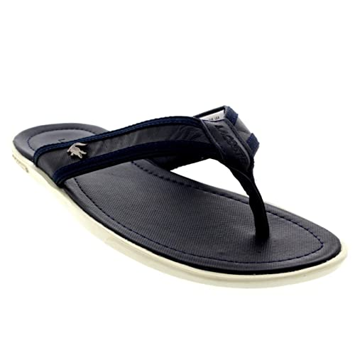 36a1c1421b9 Mens Lacoste Carros 6 Leather Fabric Vacation Flip Flops Beach Sandals -  Dark Blue - 13