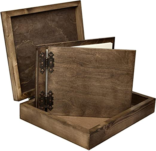 Aldecor - Libro de registro de visitantes con caja de madera (200 ...
