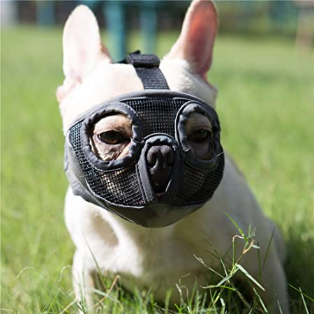 JYHY Short Snout Dog Muzzles- Adjustable Breathable Mesh Bulldog Muzzle for Biting Chewing Barking Training Dog Mask,Grey(Eyehole) S
