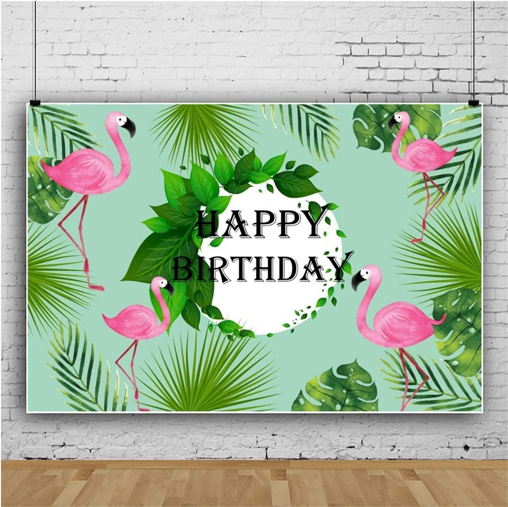 Yeele Flamingos Birthday Backdrop 5x3ft Tropical Trees Photography Background Boys Girls Portraits Kids Party Background Party Decoration Work Event Photo Booth Studio Props