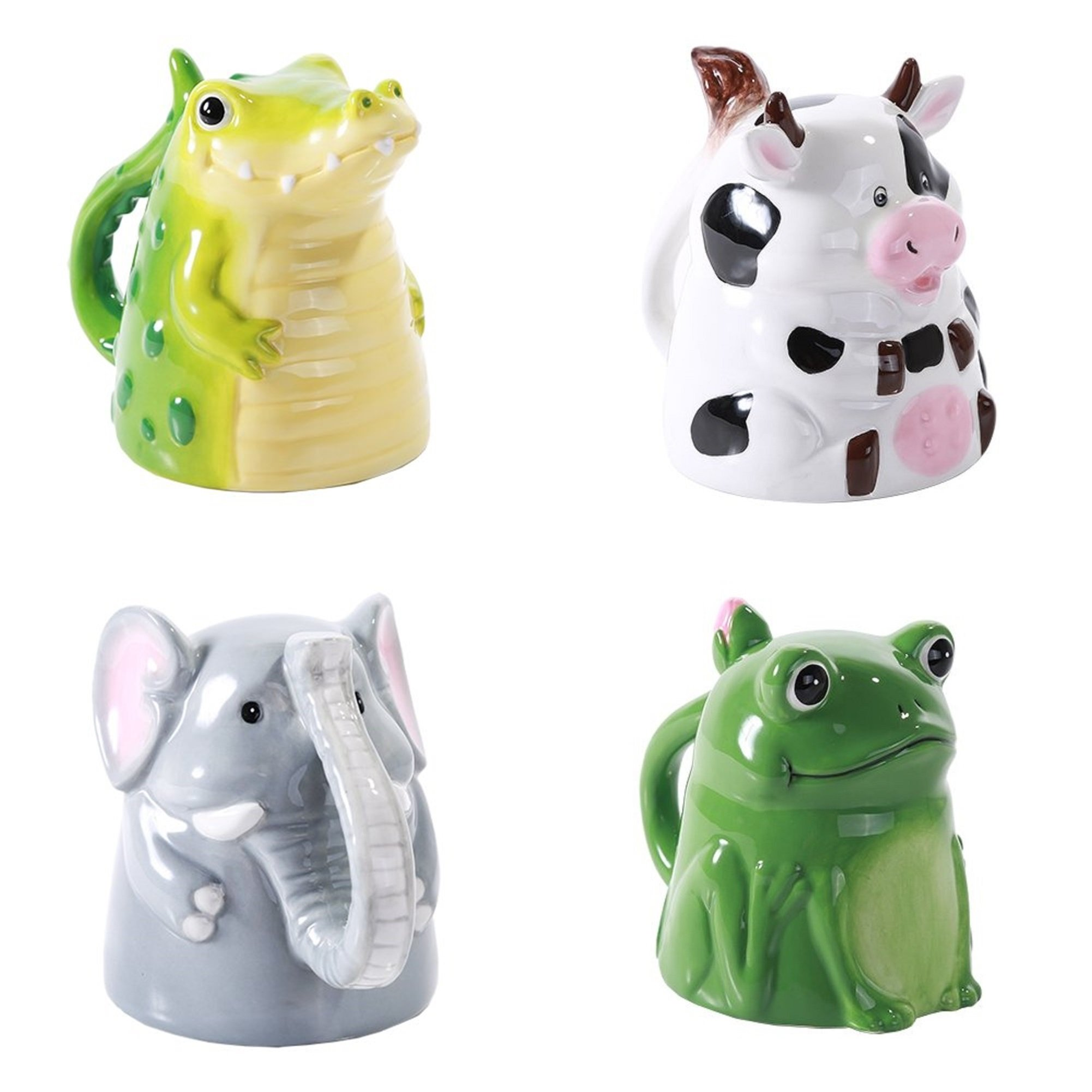 Topsy Turvy Upside Down Ceramic Porcelain Animal Coffee Mug Set, Cow Elephant Frog and Alligator
