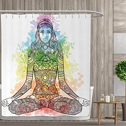 164c7d4623f86 Anniutwo Yoga Shower Curtains Fabric Tattoo Mehndi Style Vintage Ornate  Woman Figure in Lotus Pose Chakra