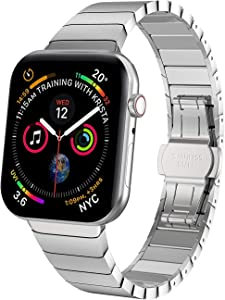 38/40mm Silver Durable 304 Stainless Steel Link Bracelet Replacement for Apple Watch Band Series 5/4/3/2/1 with Butterfly Folding Clasp Compatible for Apple Watch (silver, 38/40mm)