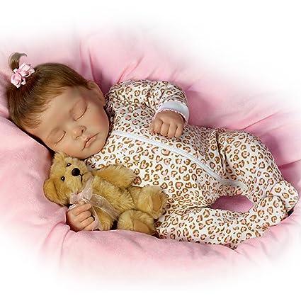 Ashton Drake - Ellie dulces sueños - Muñeca bebé realista - Con un mullido osito de