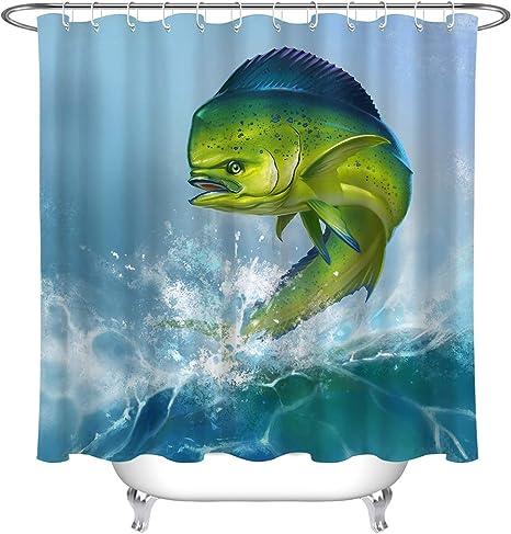 Hawaii Green Mahi Fish 100/% Polyester Fabric Shower Curtain Bath Accessory Sets