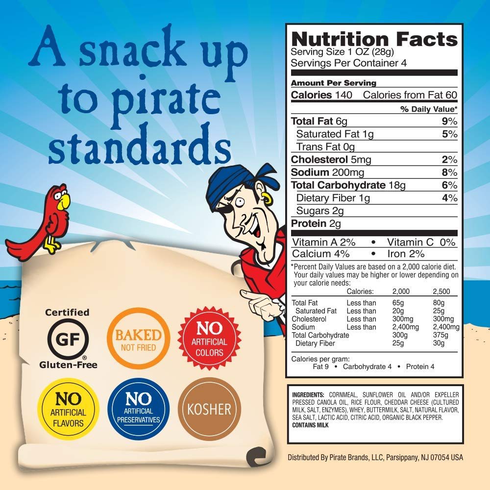 Pirate's Booty Crunchy Treasures, Aged White Cheddar, 4 oz. (Pack of 12) by Pirate Brands (Image #6)