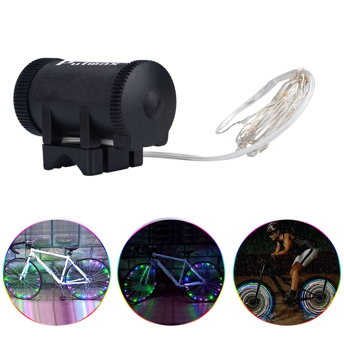 Putmax with Bike Wheel Lights - Bike Lights with Motion and Light Sensor-Safety Tire Light for Kids Adult Riding at Night