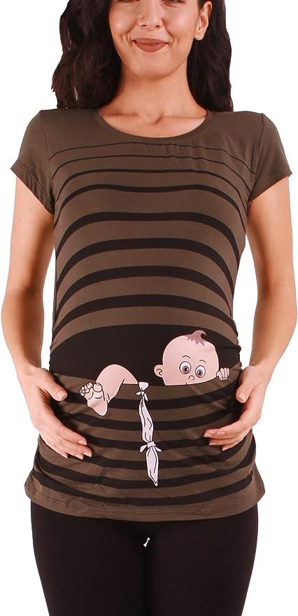 v/êtement de maternit/é Mignon et Rigolo//T-Shirt de maternit/é avec Motif pour la Grossesse//T-Shirt de Grossesse M.M.C B/éb/é en Fuite /à Manches Courtes