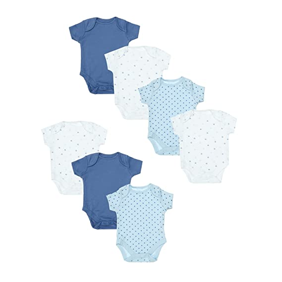 d1670bf32cd7 Mothercare Baby Boys  Blue 7 Pack Short Sleeve Bodysuits New  Amazon ...