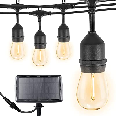 Brightown 34Ft LED Solar String Lights with 15 Shatterproof Bulbs, Solar & USB Charging with 4 Lighting Modes, Weatherproof Ambient Lighting for Patio Deck Cafe, Black Cord, 2700K : Garden & Outdoor