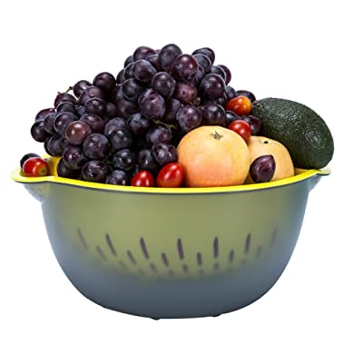 2-in-1 Large Plastic Colander with Bowl, Wecye Food-Grade Kitchen Strainers for Fruits,Vegetable,Beans,Pasta,Noodle and Berries,Mixing Bowl (6.5 Quart)