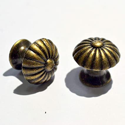 4 Sets Vintage Bronze Knobs Pulls Handles Antique Decorative Drawer Single Hole Hardware with Screws for Furniture Cabinet Cupboard Dresser