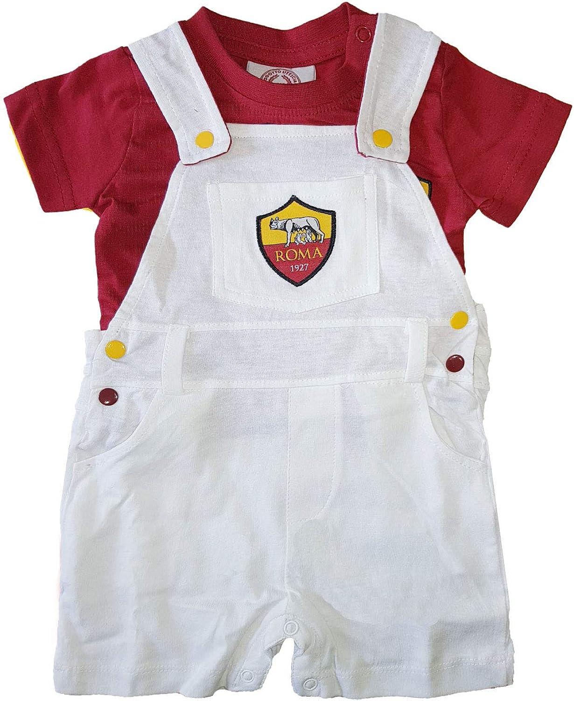 13658 t-Shirt Neonato in Cotone Prodotto Ufficiale Art AS Roma Salopette