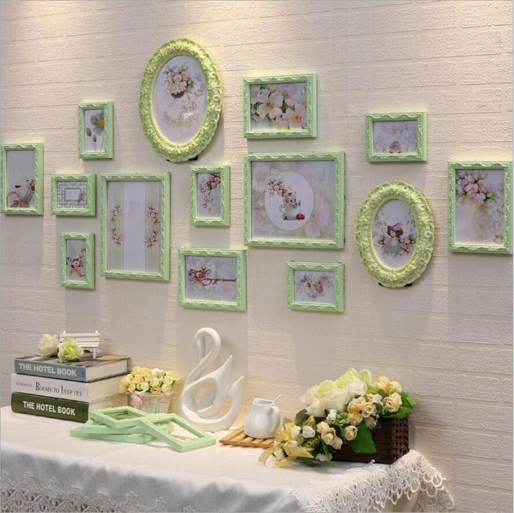 ZZZSYZXL Holz Foto Wall 14 Rahmen Blumen-Liebe-Wohnzimmer Schlafzimmer Zusammensetzung Creative Photo Wand