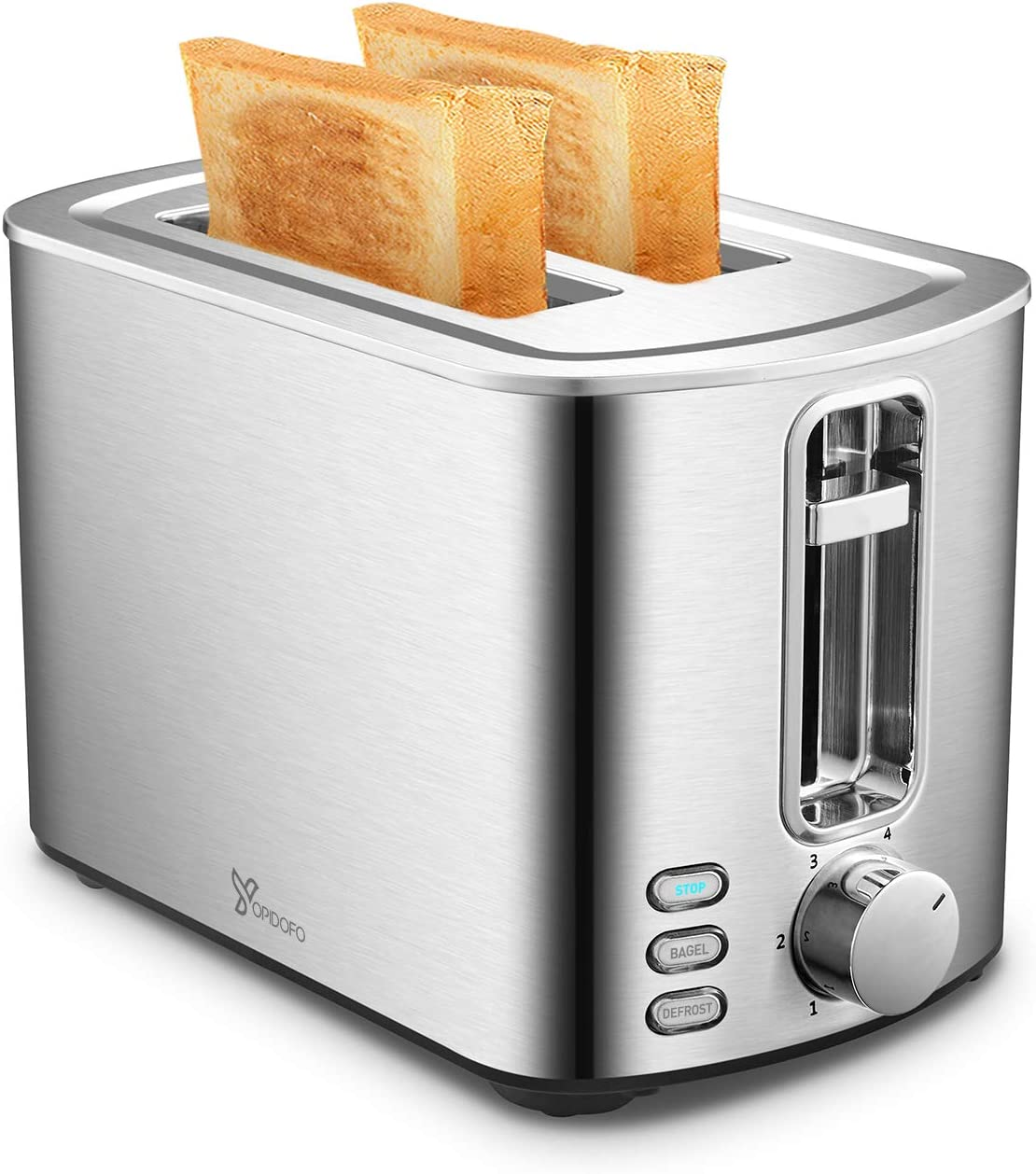 Toaster 2 Slice Stainless Steel Toaster with 6 Bread Shade Setting and Bagel, Cancel, Defrost Function for Bread Waffles Muffins