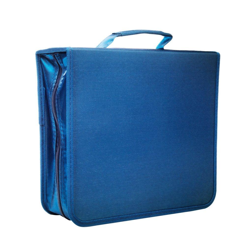 256 Capacity CD/DVD case Wallet, storage,holder,booklet by Rekukos(Blue)