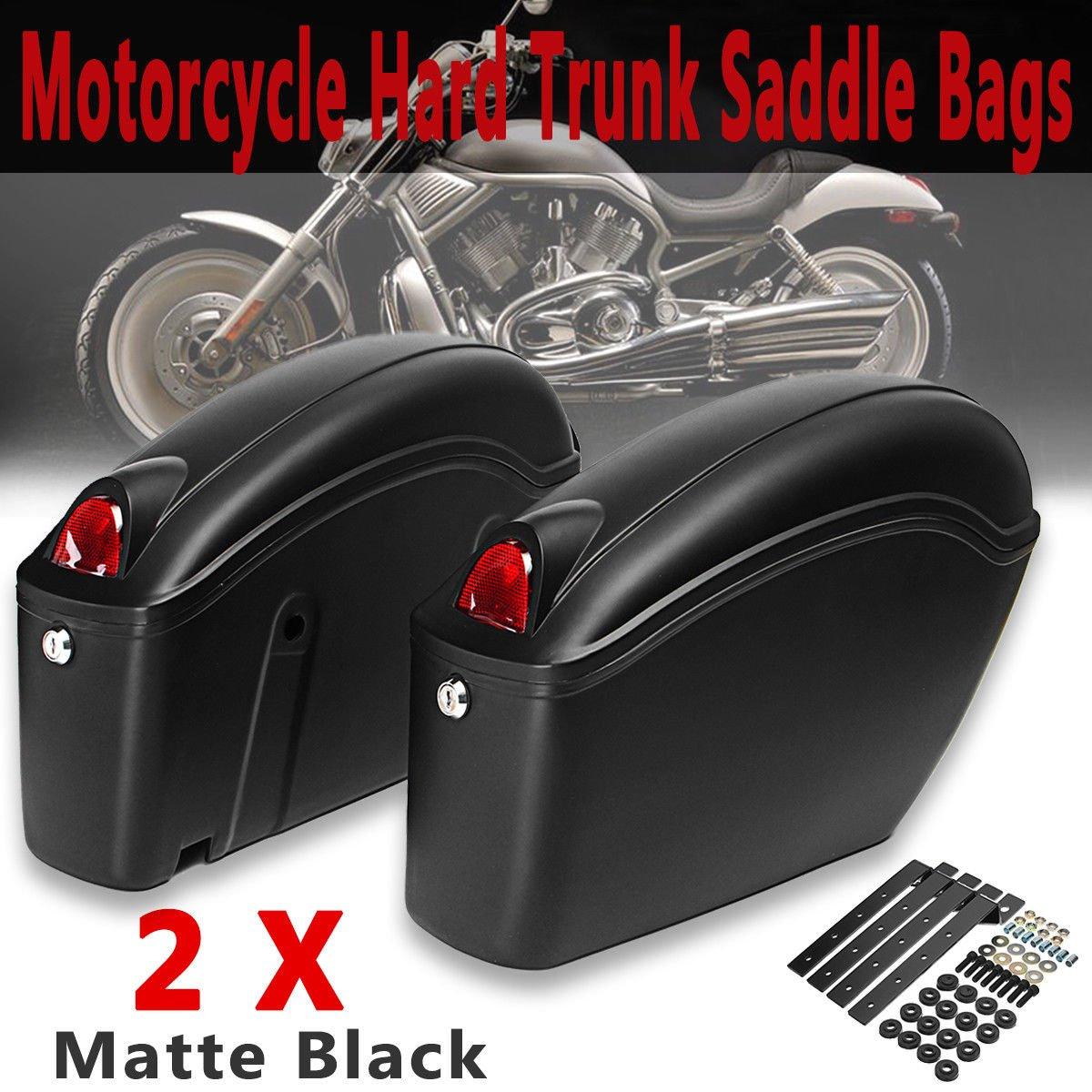 Saddlebags Motorcycles,CHELIYA Motorcycle Side Case Hard Trunk Saddle Bag Luggage W//Bracket Light for Cruiser StyleB