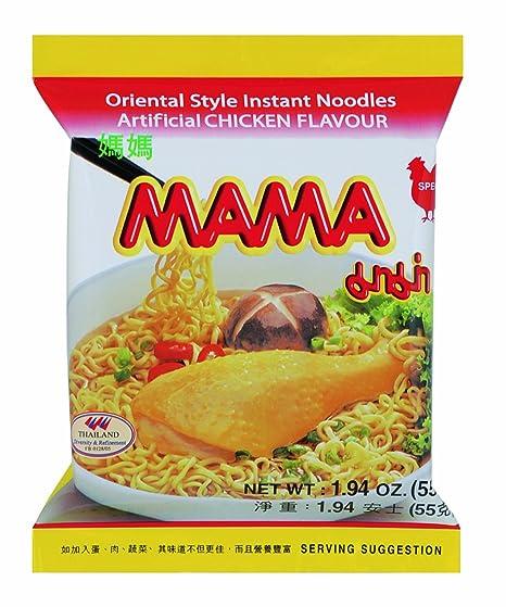 Mama Instant Pasta, pollo, 24 unidades) (24 x 55 ...