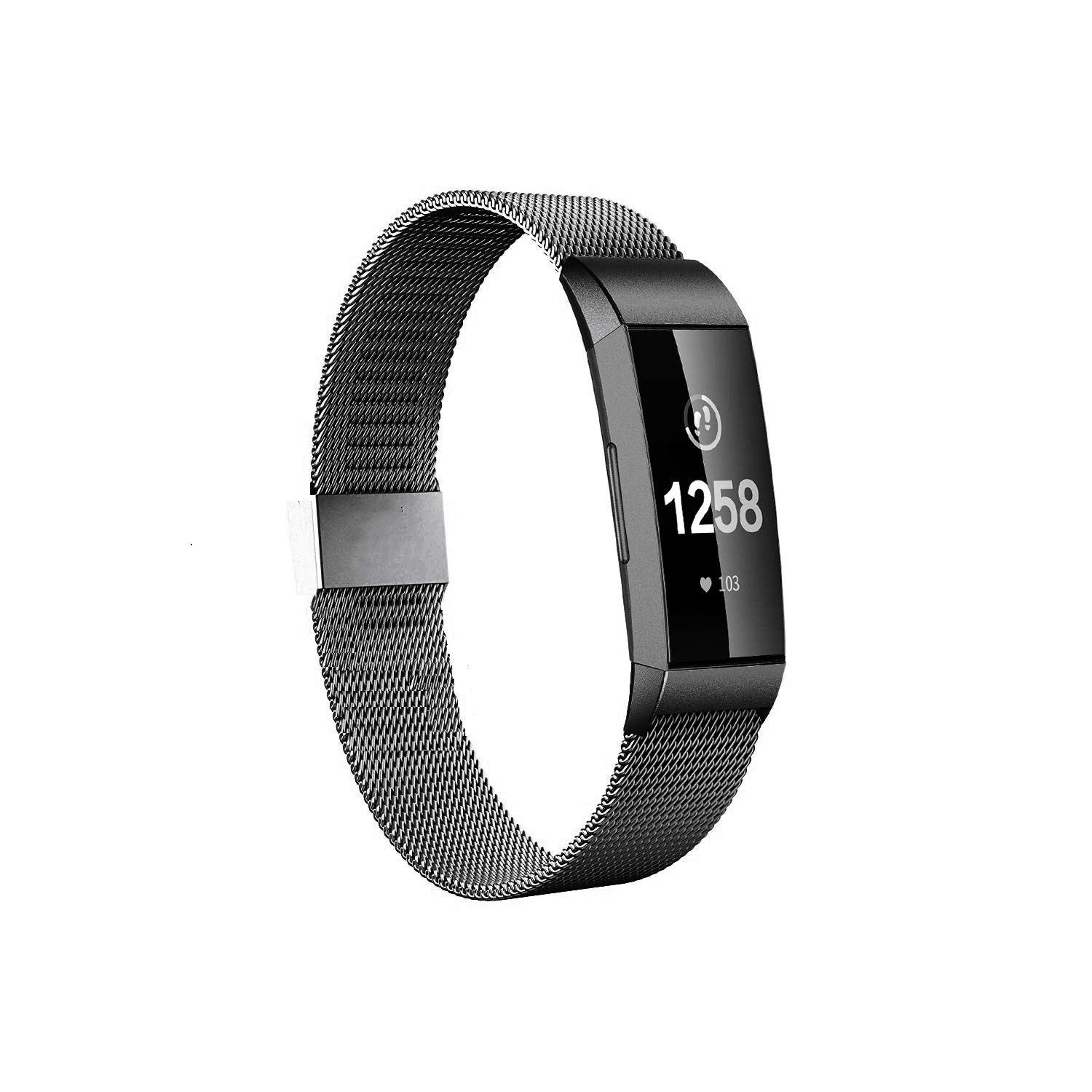 Fitlink Stainless Steel Bands Replacement for Charge 3 and Charge 3 SE for Women Men,Multi Color Multi Size (Black, Small(5.5''-8.5''))