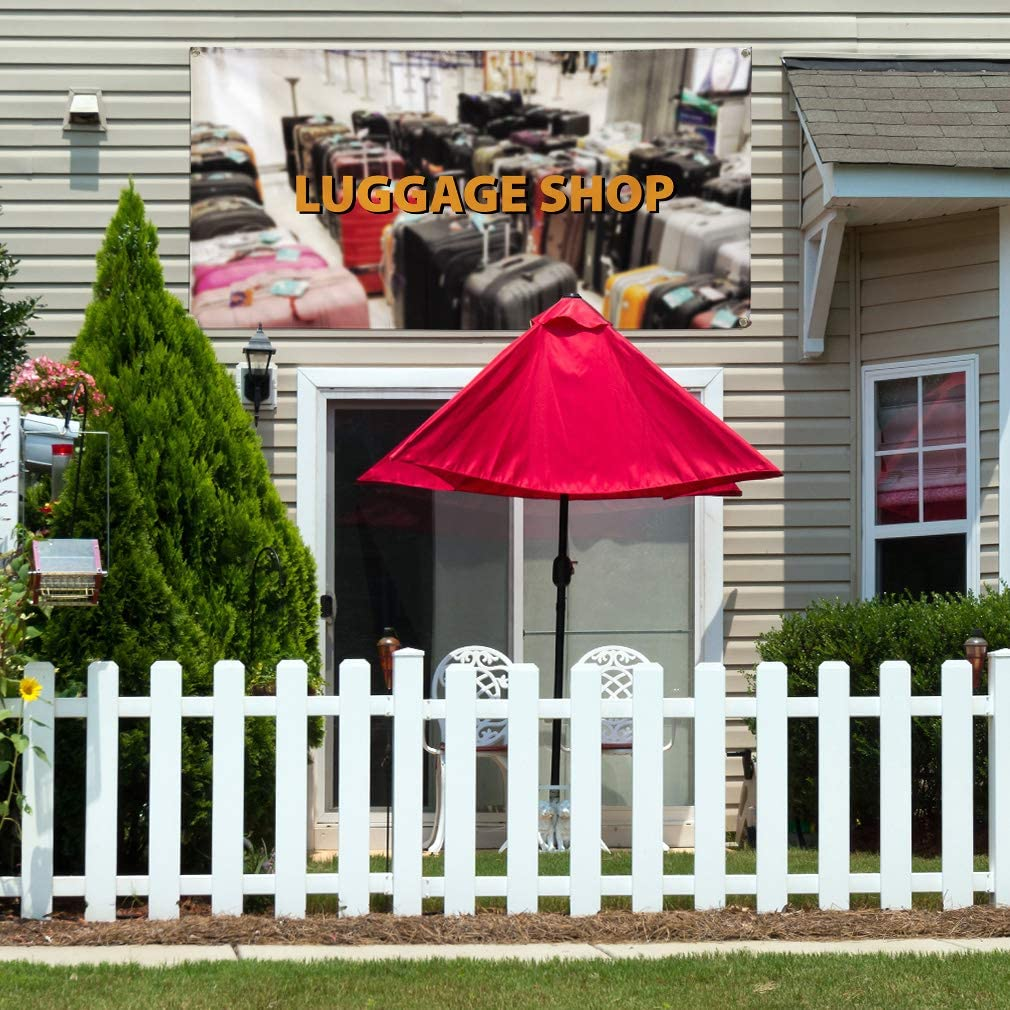 Vinyl Banner Multiple Sizes Luggage Shop Outdoor Advertising Printing Business Outdoor Weatherproof Industrial Yard Signs White 8 Grommets 48x96Inches