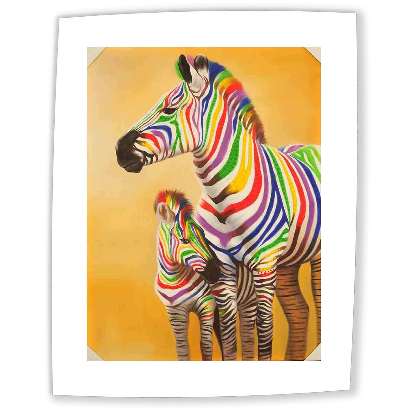 Cuadro sobre Lienzo - Dos Cebras En Colores Multi Pinturas Al Óleo Pared Impresións - 40X55 cm: Amazon.es: Hogar