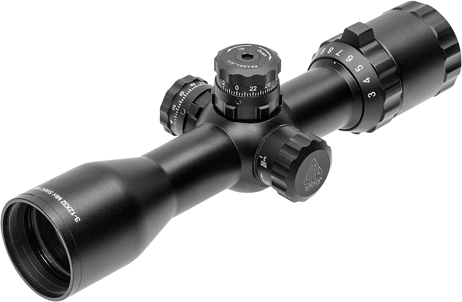 Leapers Inc, UTG BugBuster Riuflescope, 3-12x32mm, 1 Tube, Side AO, Mil-Dot Reticle, DT Rings, Black