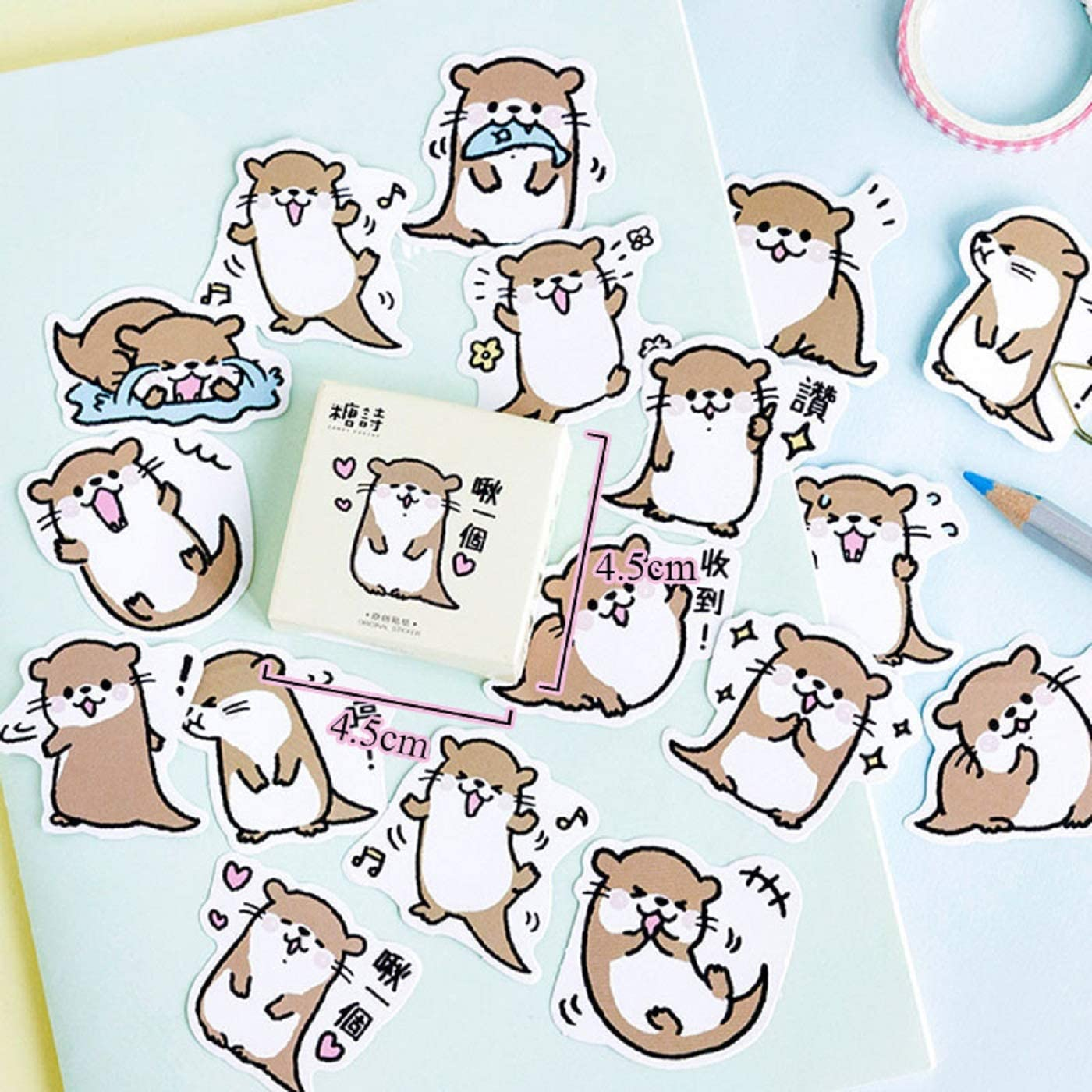 45Pcs/Box Cute Animal Stickers Kawaii Otter Adhesive Stickers for Child Diary Photo Album Decorative Scrapbooking Classic Toys