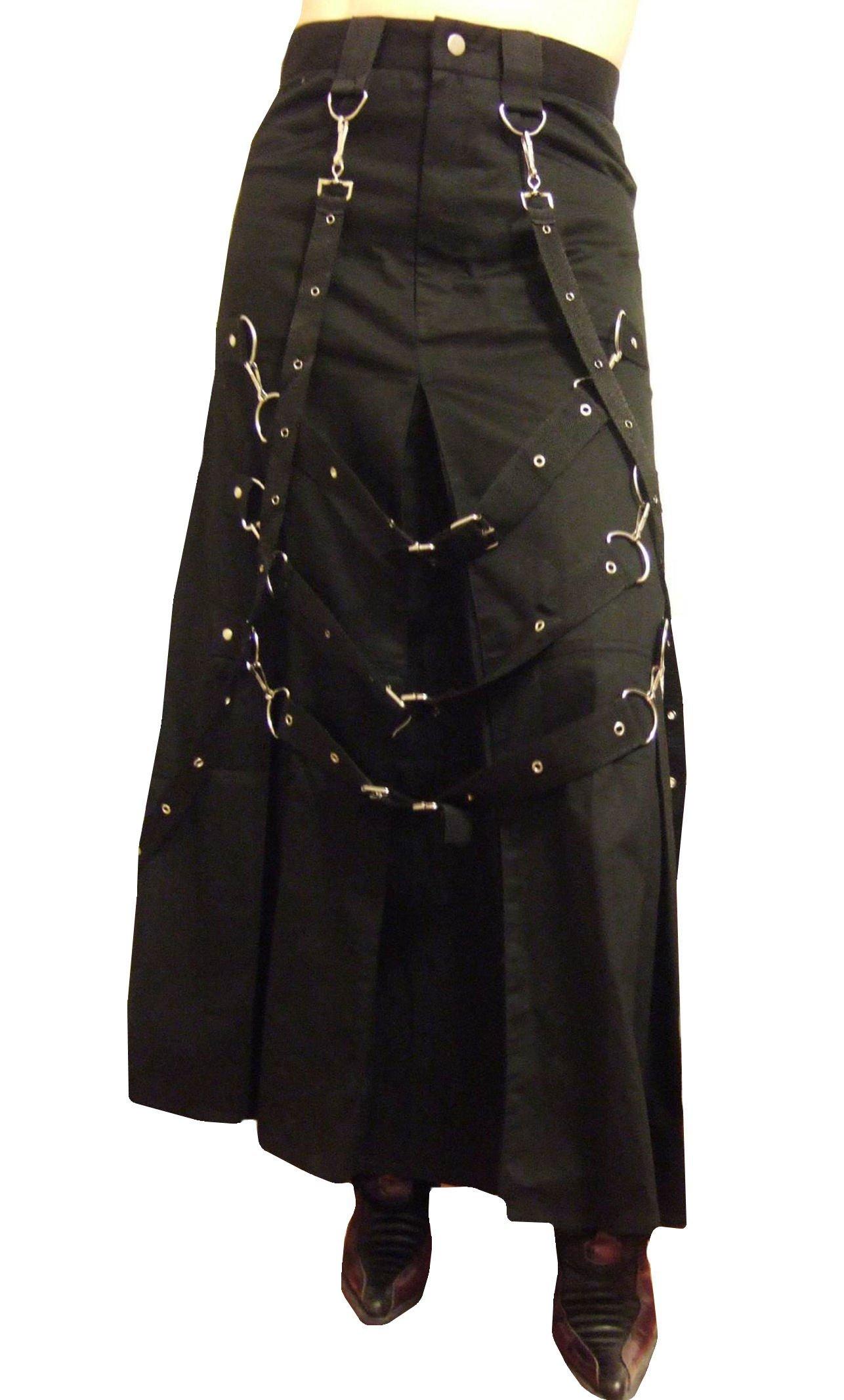 XXL Size 20 Unisex Heavy Cotton Drill Buckle & Chain Long Gothic Kilt Skirt