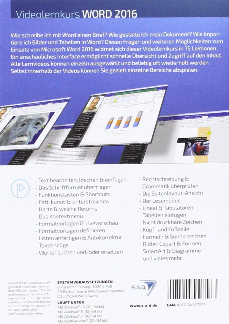 Sad Videolernkurs Word 2016 Amazonde Software