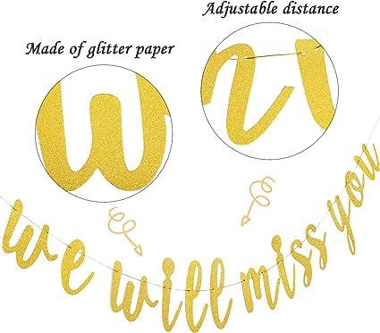 Bandiera We Will Miss You Banner di Addio Festa di Pensionamento Glitter Oro Segno di Pensionamento Going Away Party Addio Decorazioni per Feste Decorazioni per Feste da Ufficio