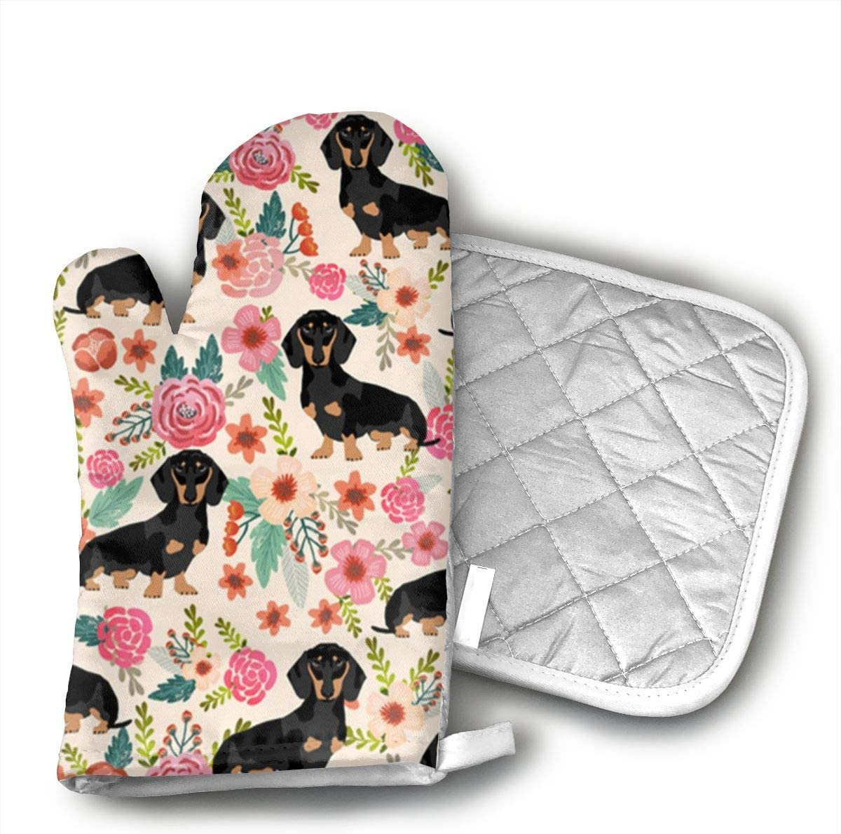 UYRHFS Wiener Dog Oven Mitts and Pot Holder Kitchen Set with, Heat Resistant, Oven Gloves and Pot Holders 2pcs Set for BBQ Cooking Baking