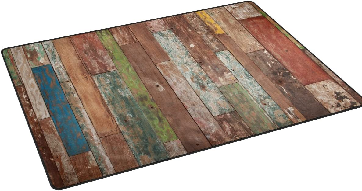 Sunlome Vintage Plank Barnwood Pattern Area Rug Rugs Non-Slip Indoor Outdoor Floor Mat Doormats for Home Decor 31 x 20 inches