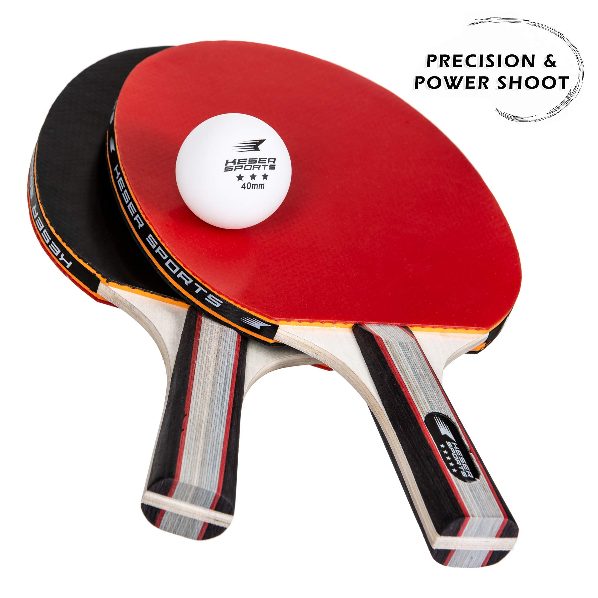 Keser Sports 5-Star Ping Pong Paddle Set, 4-Player Racket Set Bundle, 8 Professional ABS Balls, Portable Storage Bag, Full Table Tennis Set, Advanced Spin, Speed & Control, Play Outdoors/Indoors by Keser Sports (Image #4)