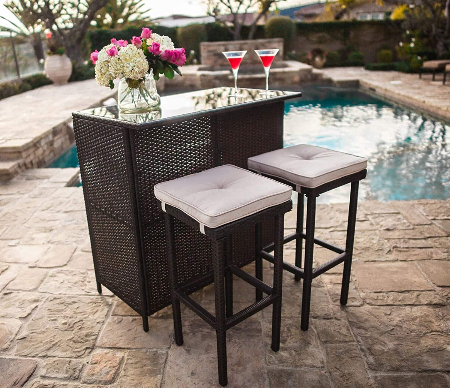 Cemeon Outdoor Bar 3-Piece Patio Bar Set with Two Stools and Glass Top Bar Table Brown Wicker Patio Furniture with Removable Cushions