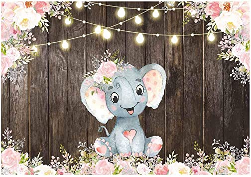 Amazon.com : Funnytree 7x5ft Rustic Wood Floral Elephant Party ...