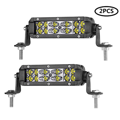LED Light Pods Auto Power Plus 2pcs 6inch Off Road Driving Lights Dual Row LED Light Bar CREE LED Work Light Waterproof Spot Flood Combo Lights for Off Road Jeep Truck UTV ATV Boat: Automotive