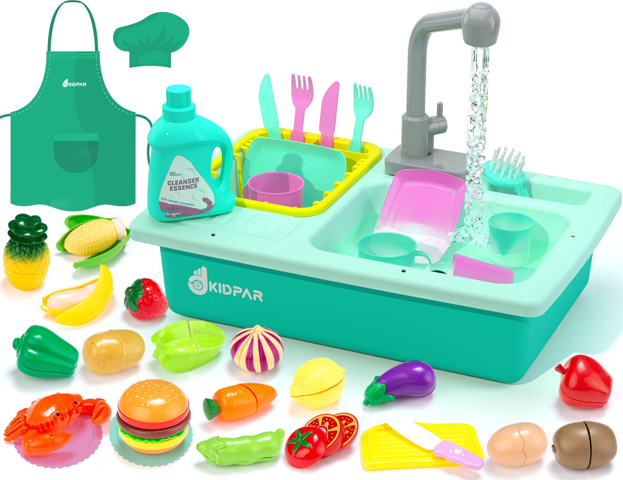 KIDPAR 38 Pcs Color Changing Kitchen Play Sink Toys for Kids,Toddler Electric Dishwasher with Auto Running Water Cycle System,Cutting Food,Chef's Apron,House Pretend Role Play Toys for Boys Girls