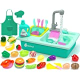 KIDPAR 38 Pcs Color Changing Kitchen Play Sink Toys for Kids,Toddler Electric Dishwasher with Auto Running Water Cycle System