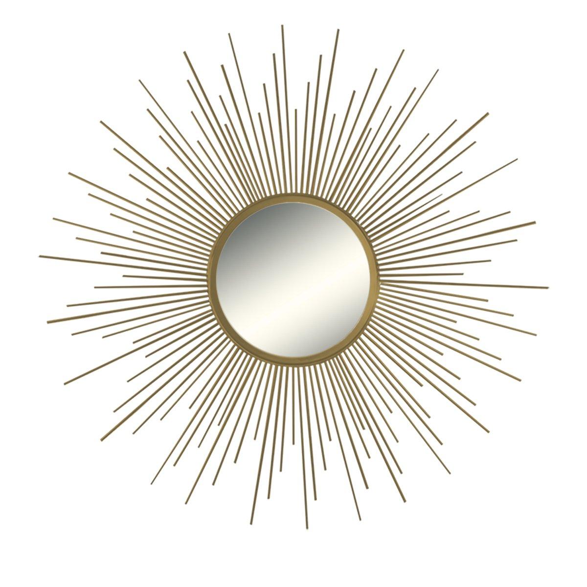 "36"" Decorative Wall Hanging Mirror in Sunburst Shape, Brushed Gold Sunburst Round Wall Mirror, Mid Century Modern Style Mirror, Brushed Gold Finish"